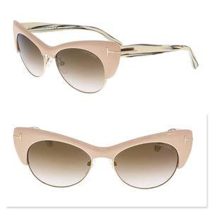 New TOM FORD Lola Nude Cat Eye Oval Sunglasses